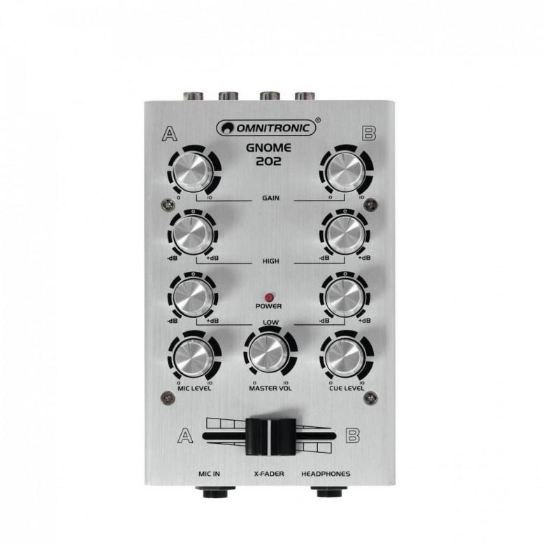 Mixer Dj mini 2ch Gnome 202 Argento Omnitronic