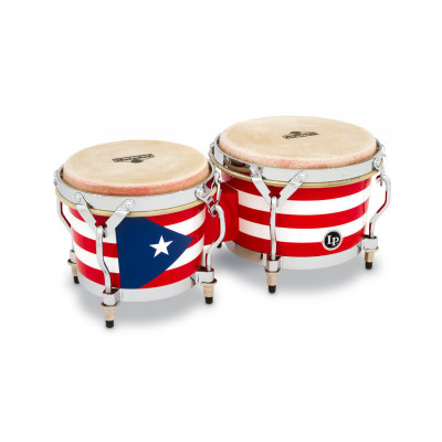 Bongos Matador Wood, Puerto Rican Flag,Latin Percussion,Latin Percussion