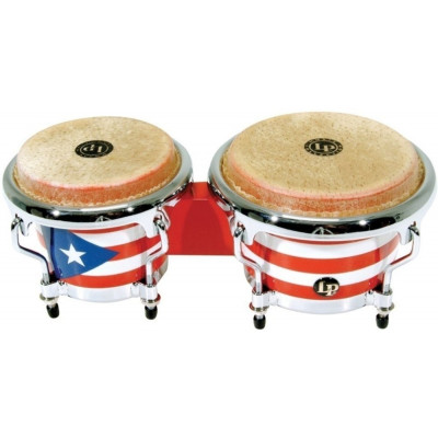 Bongos Mini Tunable, Puerto Rican Flag,Latin Percussion,Latin Percussion