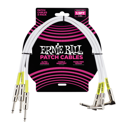 Ernie Ball Cavo Patch bianco dritto/angolato (46 cm.) - pack da 3