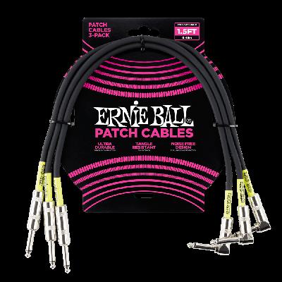 Ernie Ball Cavo Patch nero dritto/angolato (46 cm.) - pack da 3