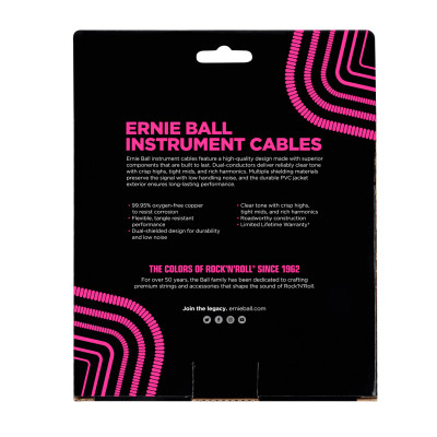Ernie Ball 6044 Cavo Audio Jack/Jack a spirale Nero - 9 M
